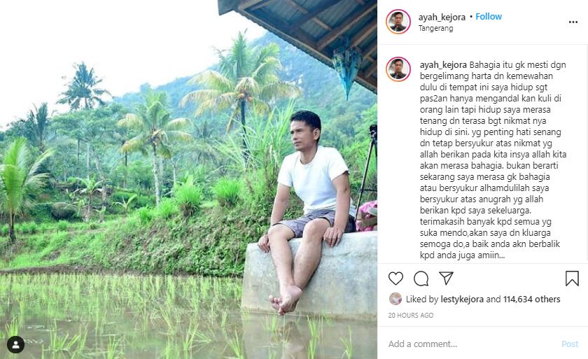 ungkapan ayah Lesty Kejora bikin haru Instagram