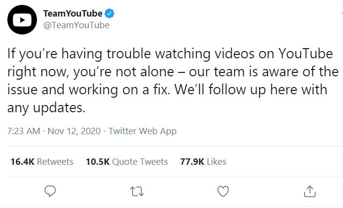 YouTube down 12 november © Twitter