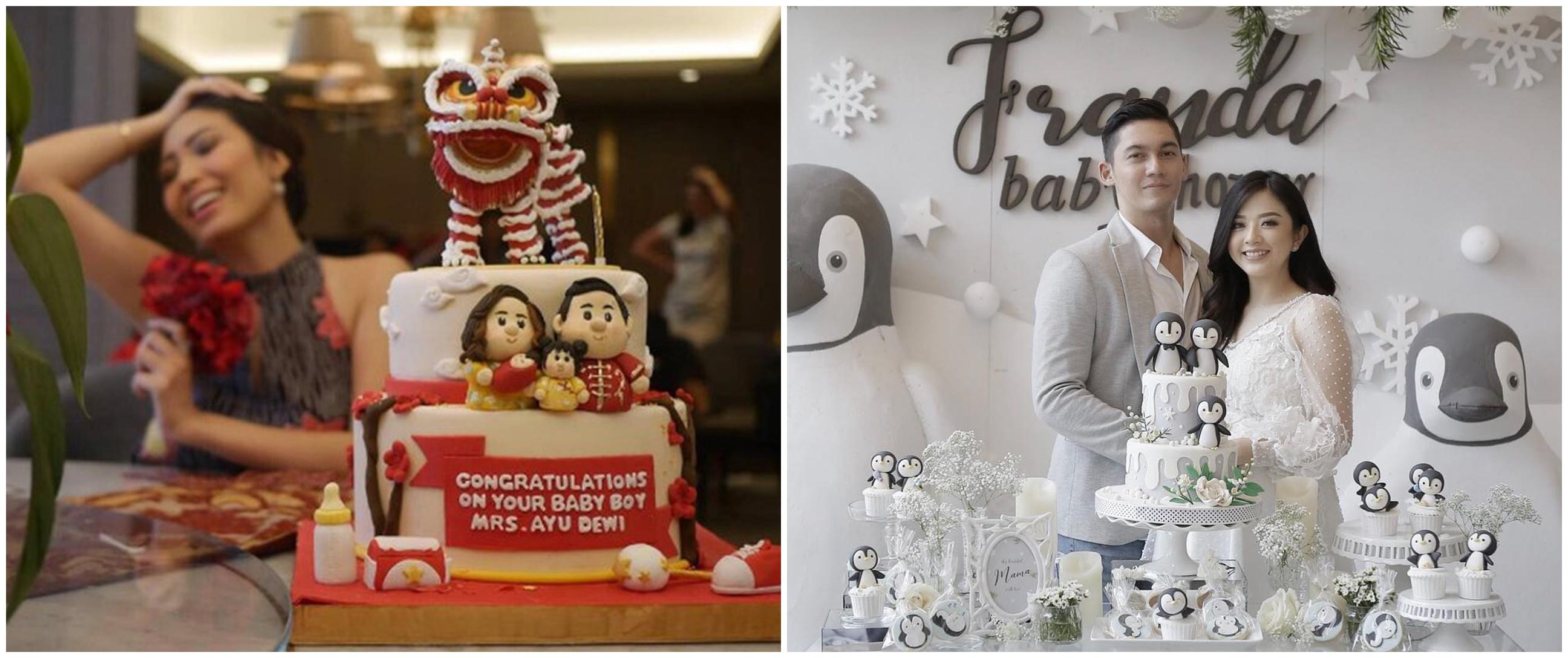 Potret kue baby shower 10 seleb ini unik, bikin sayang dimakan