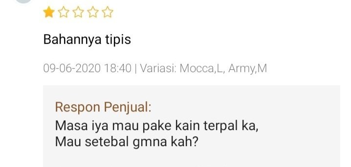 Review bahan produk olshop © Twitter