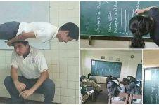 10 Potret tingkah ajaib siswa di kelas, ada yang akrobat
