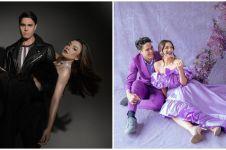 8 Gaya pemotretan Angela Gilsha & Mischa Chandrawinata, serba ungu