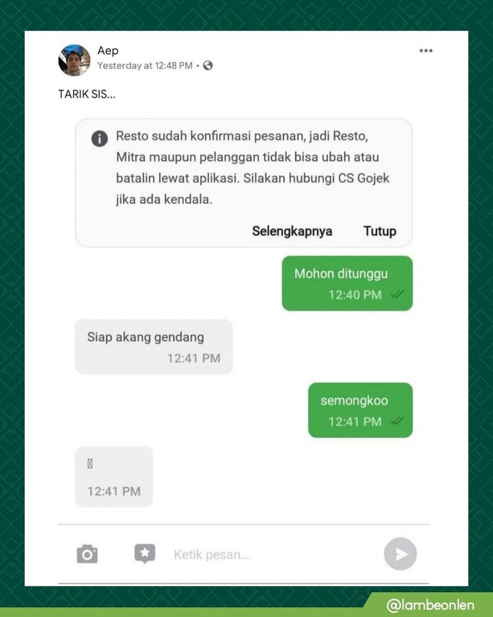 Chat order makanan di ojol © berbagai sumber