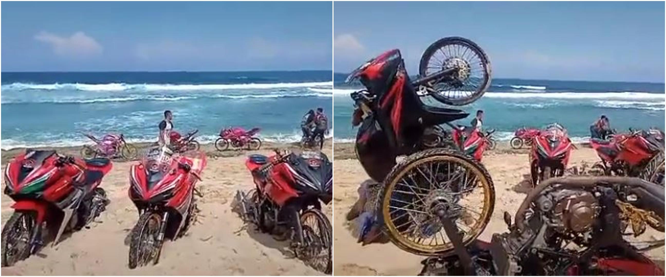 Tanam kendaraannya di pantai, aksi anak motor ini bikin geleng kepala
