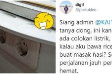 Viral aksi kocak cowok izin masak pakai rice cooker di kereta