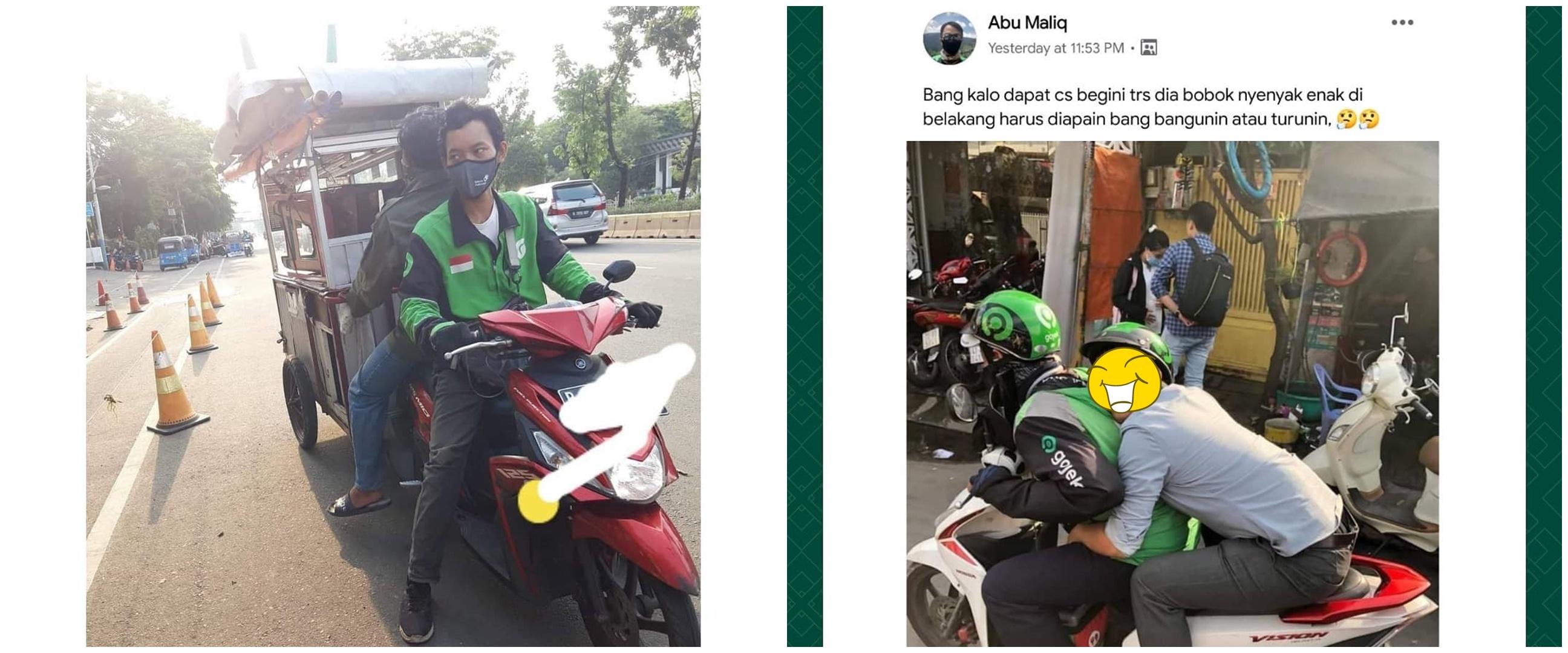 11 Posisi duduk penumpang ojek online ini bikin senyum di jalan