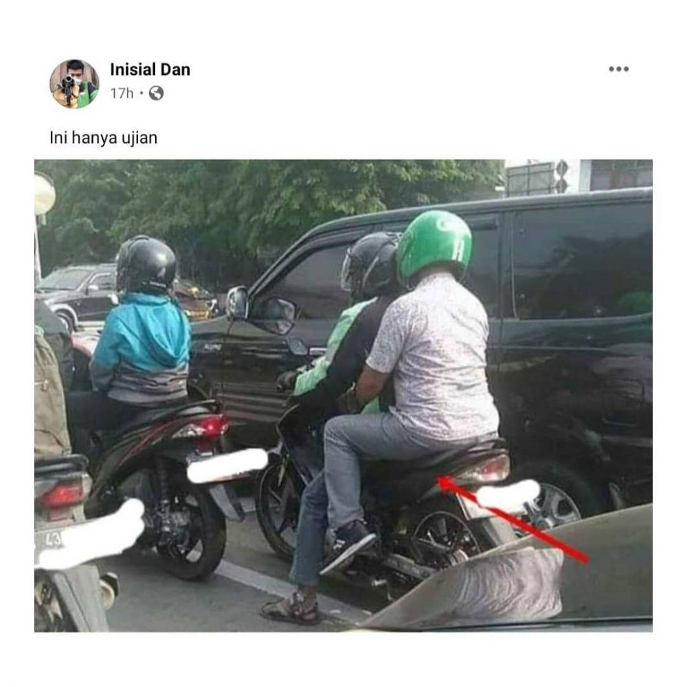 Posisi duduk penumpang ojol © Instagram