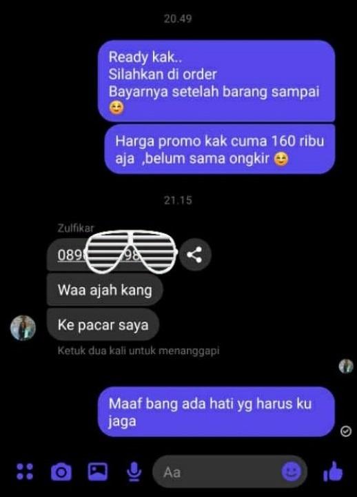 Balasan chat penjual olshop © Twitter