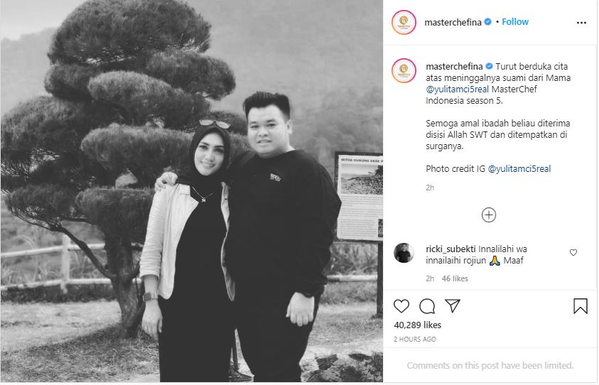 Suami Mama Lita MasterChef Indonesia meninggal Instagram