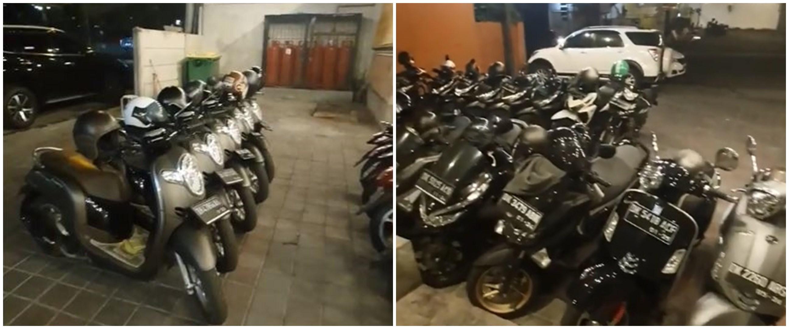 Viral aksi tukang parkir rapikan motor sesuai warna dan merek, keren