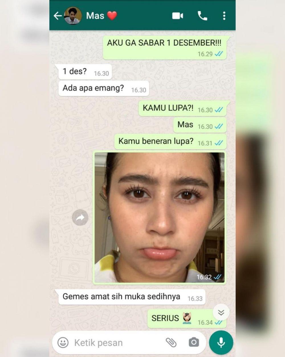 Prilly Latuconsina unggah chat mesra dengan Reza Rahadian Instagram