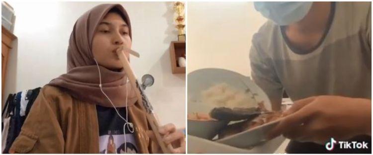 Viral wanita main suling bambu, alunan bunyi bak di rumah makan Sunda