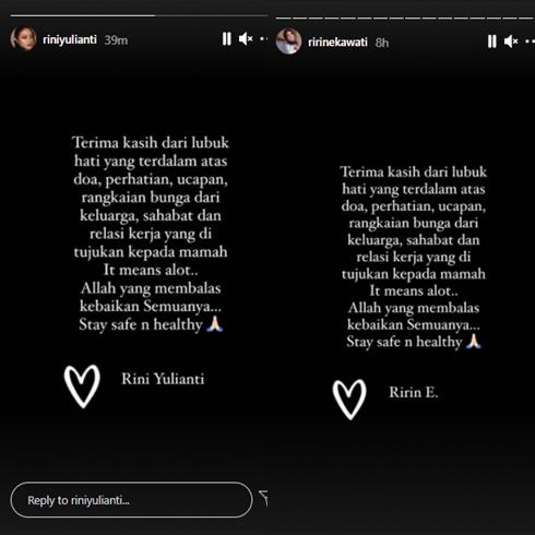 keluarga Ririn Ekawati jalani test swab Instagram