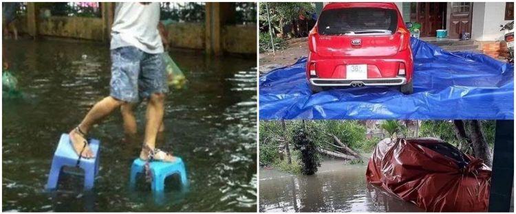 10 Aksi kreatif orang hadapi banjir ini nyeleneh dan bikin cekikikan