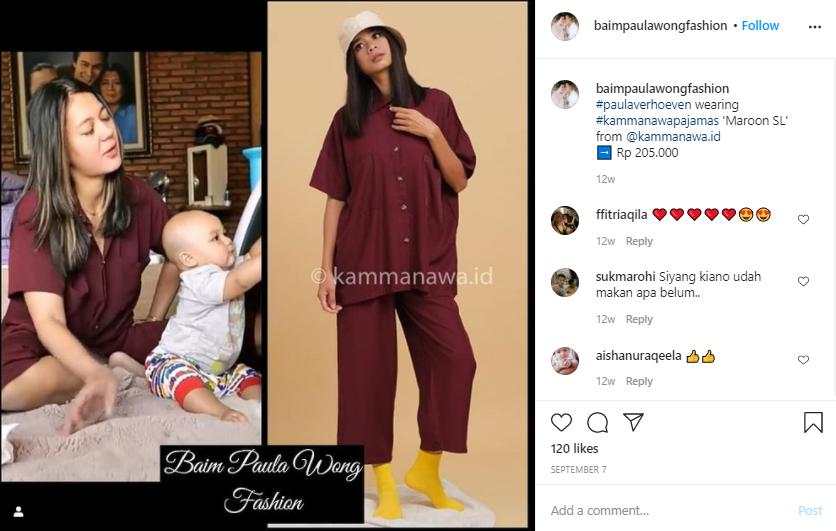 Harga fashion Paula Verhoeven saat momong Kiano Instagram