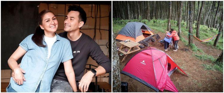 10 Momen Darius Sinathrya camping keluarga, dikelilingi pohon pinus