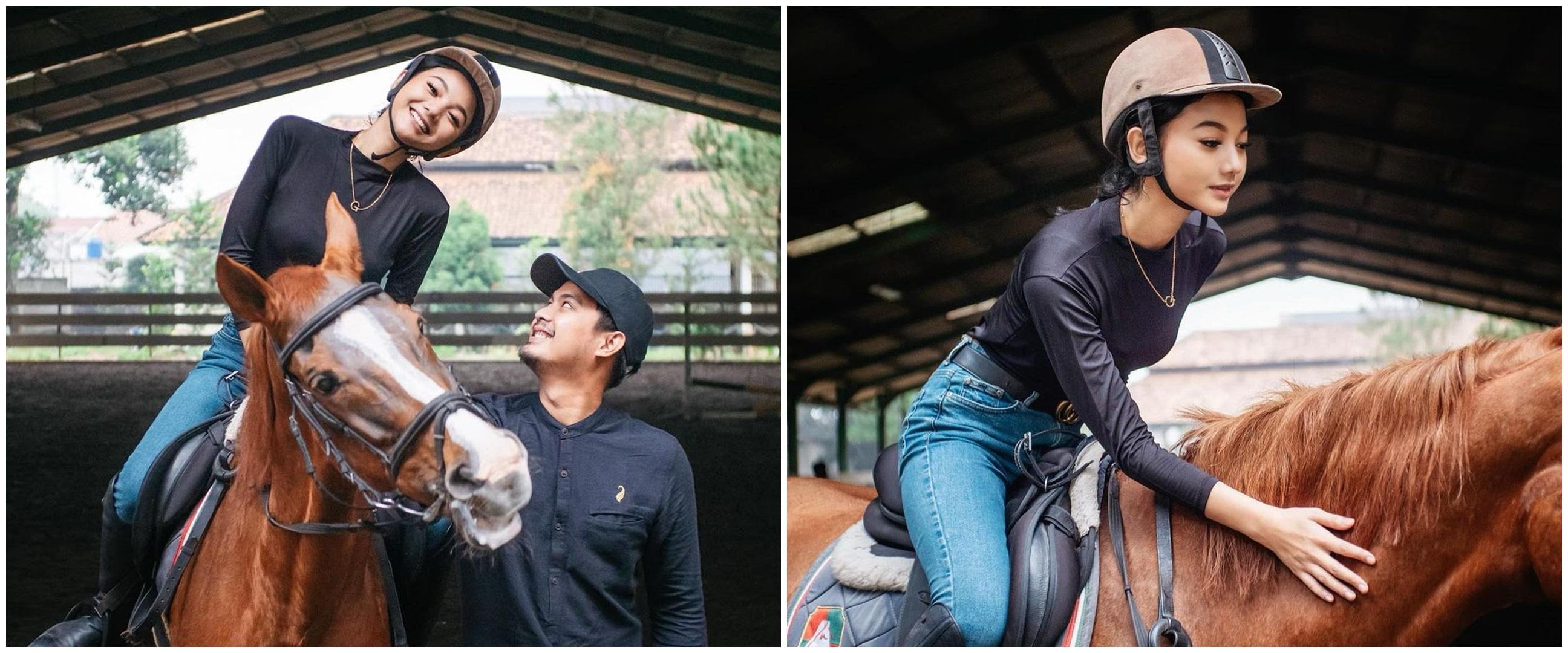 8 Momen Glenca Chysara saat olahraga berkuda, curi perhatian