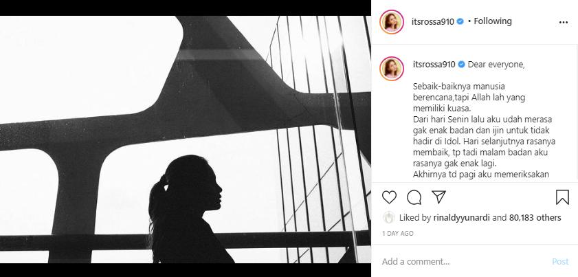 Rossa ungkap penyakit yang dideritanya Instagram