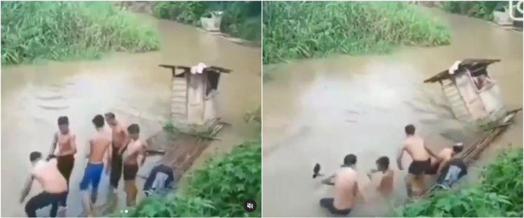 Viral video detik-detik bangunan jamban di atas sungai terbawa arus