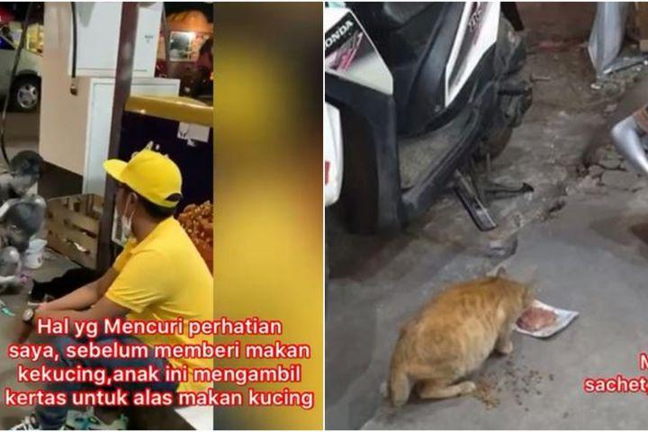 Viral bocah silver sisihkan penghasilan demi belikan makan kucing liar