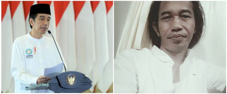 Viral pria gondrong mirip Jokowi, 7 potretnya bikin melongo