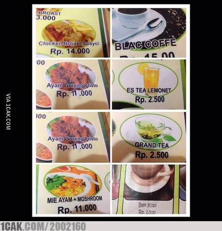 Tulisan menu makanan berbagai sumber