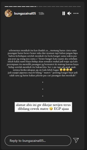 Respon Bunga Zainal disebut menikah karena harta Instagram