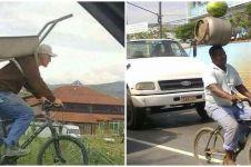 10 Tingkah kocak bawa barang pakai sepeda bikin geleng kepala
