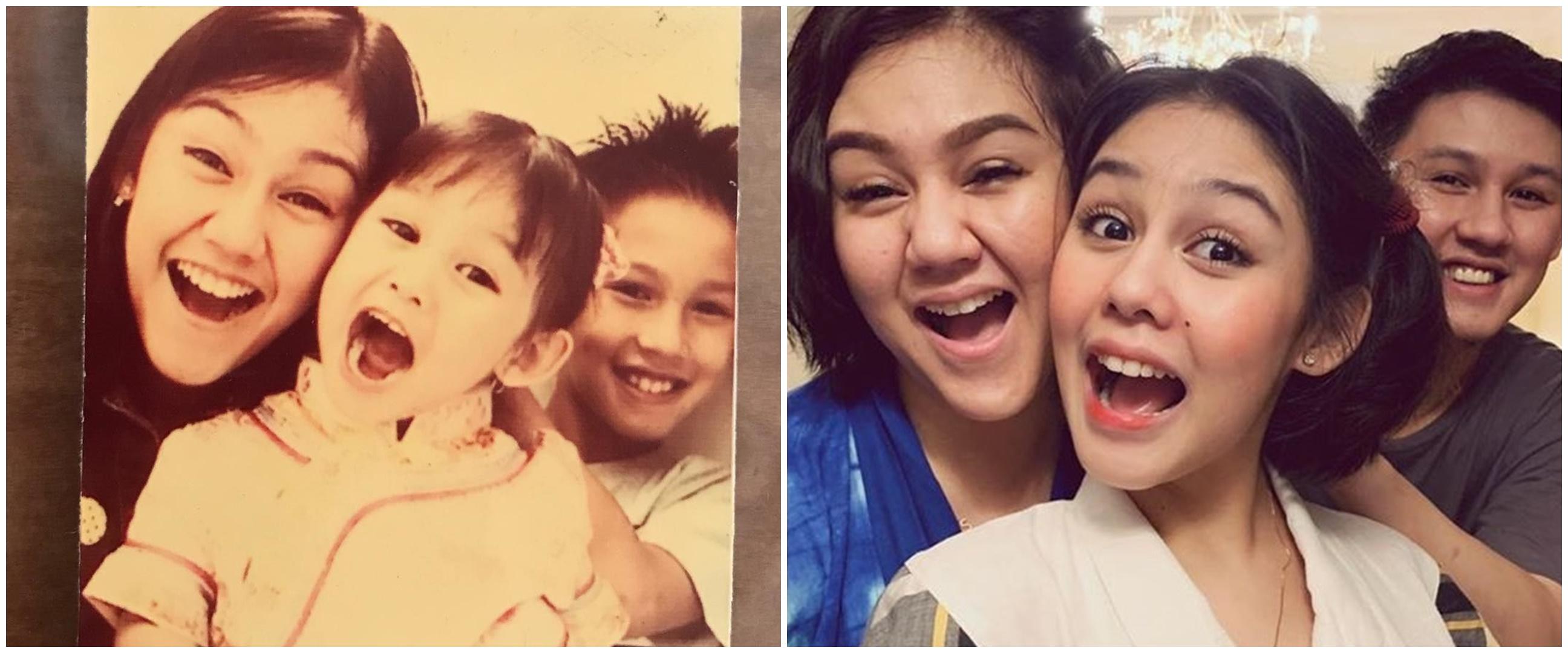 Gaya 10 seleb tirukan foto masa kecil, pose Megan Domani kocak