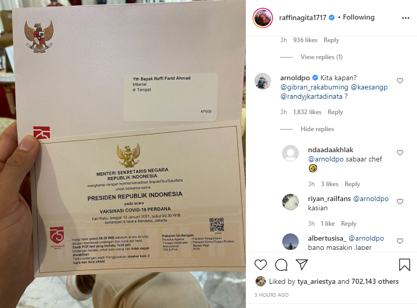 Chef Arnold komentari undangan vaksin Raffi Ahmad Instagram