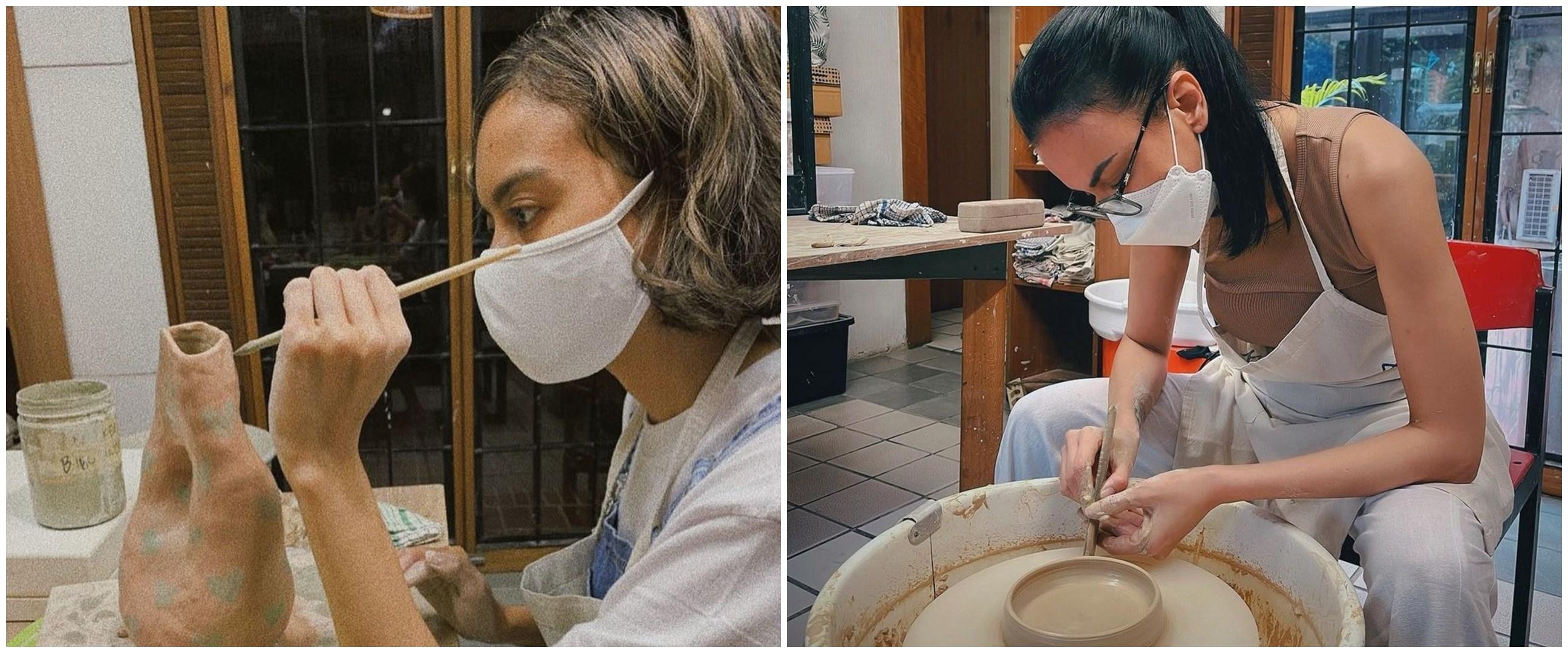 10 Momen Sophia Latjuba dan Eva Celia buat tembikar, jadi hobi baru