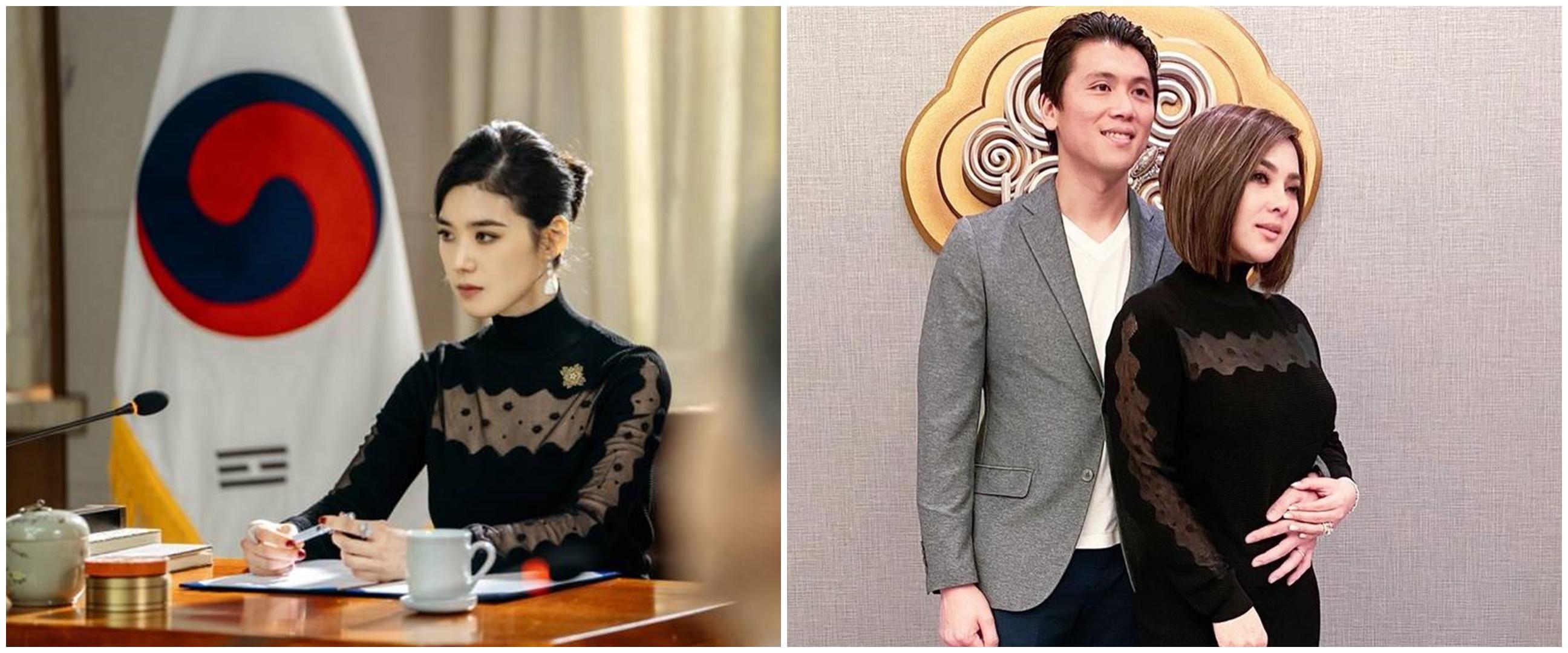 5 Potret Syahrini kembaran baju dengan artis Korea