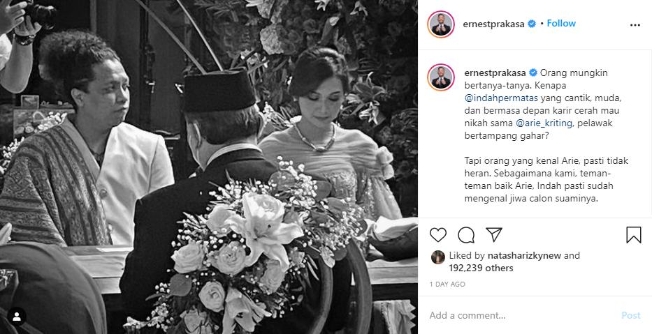 Indah Permatasari buka suara soal pernikahannya Instagram