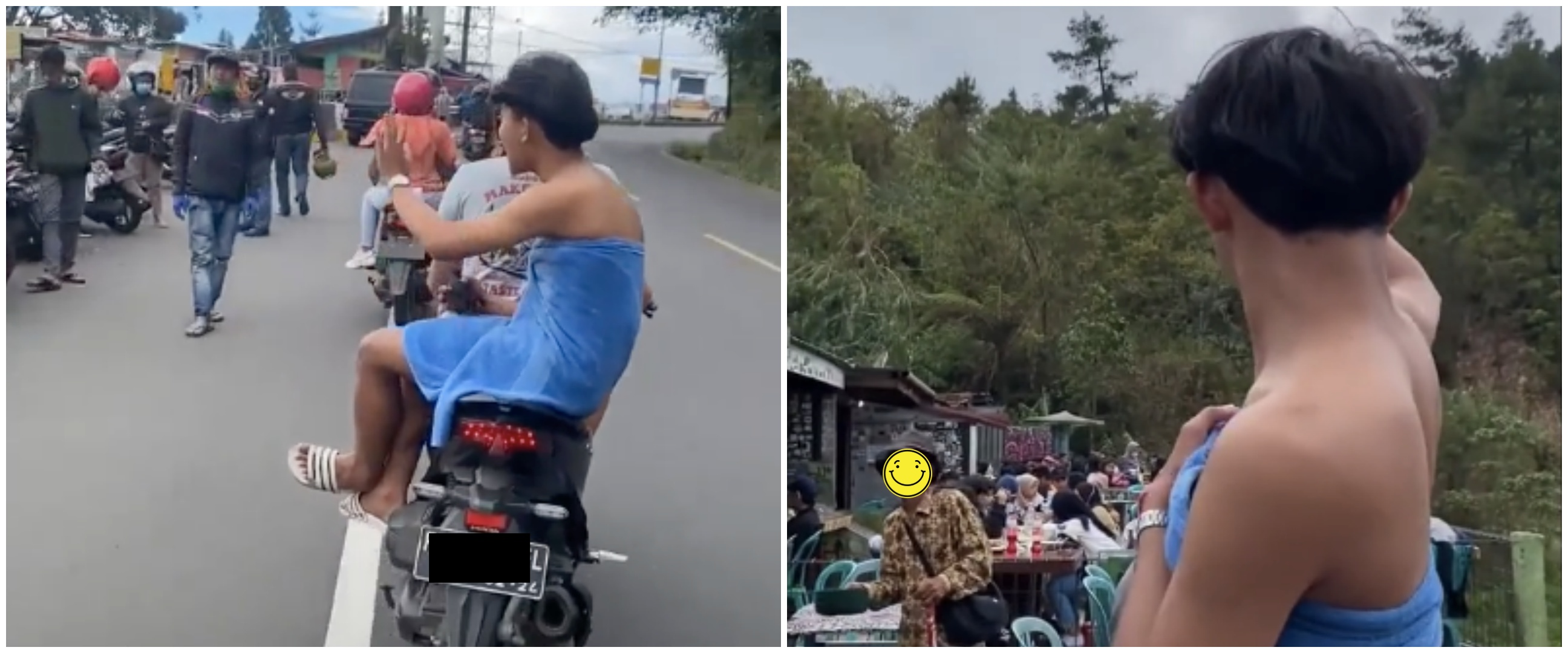 Viral aksi cowok keliling kota naik motor hanya pakai handuk, kocak