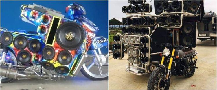 10 Modifikasi sepeda motor full sound system ini nyentriknya menghibur
