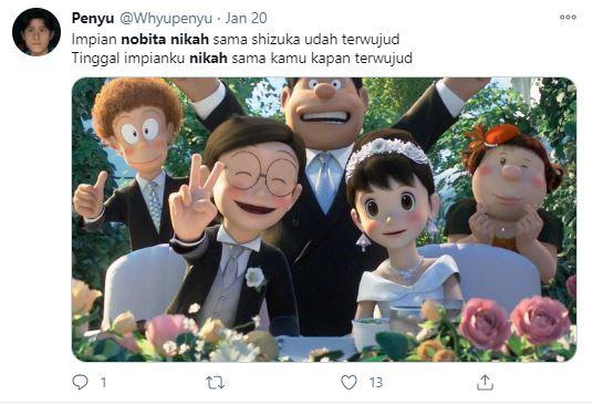 cuitan lucu warganet nobita nikah © Twitter