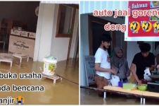 Aksi nekat warung tetap buka meski sedang banjir, ramai pengunjung