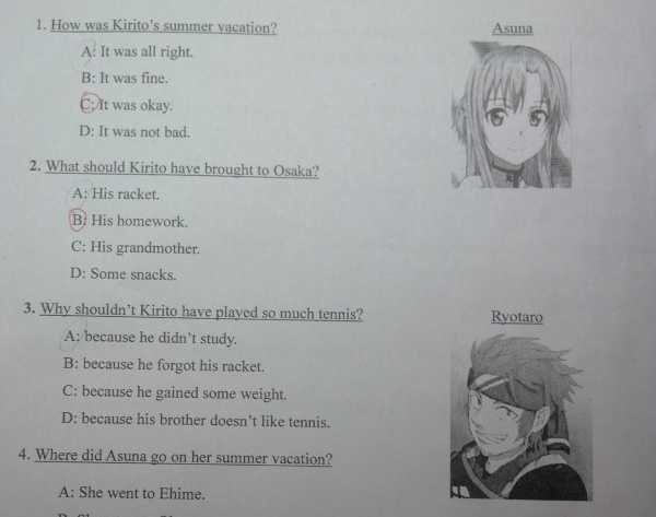 Soal ujian anime © berbagai sumber