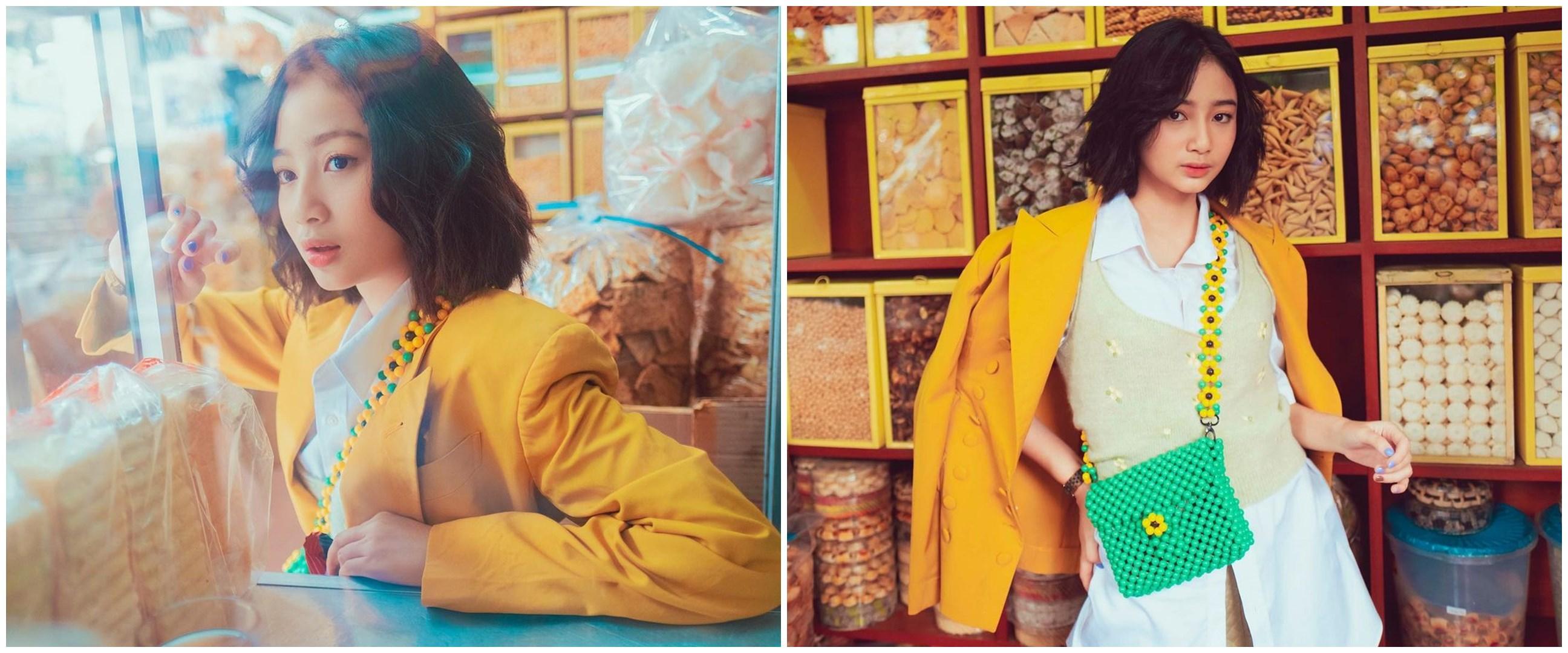 10 Pemotretan kece ala Ansellma Putri di pasar, tampil stunning