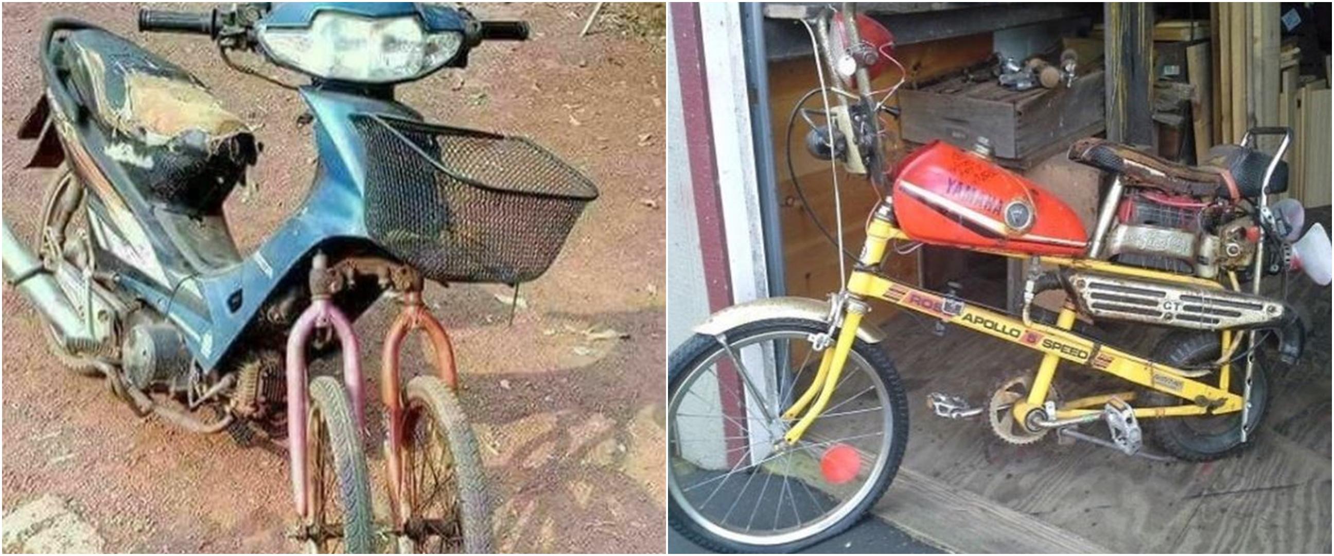 10 Modifikasi motor gunakan sparepart sepeda, bikin terheran-heran