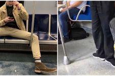 9 Pose absurd orang saat di kereta ini bikin geleng kepala