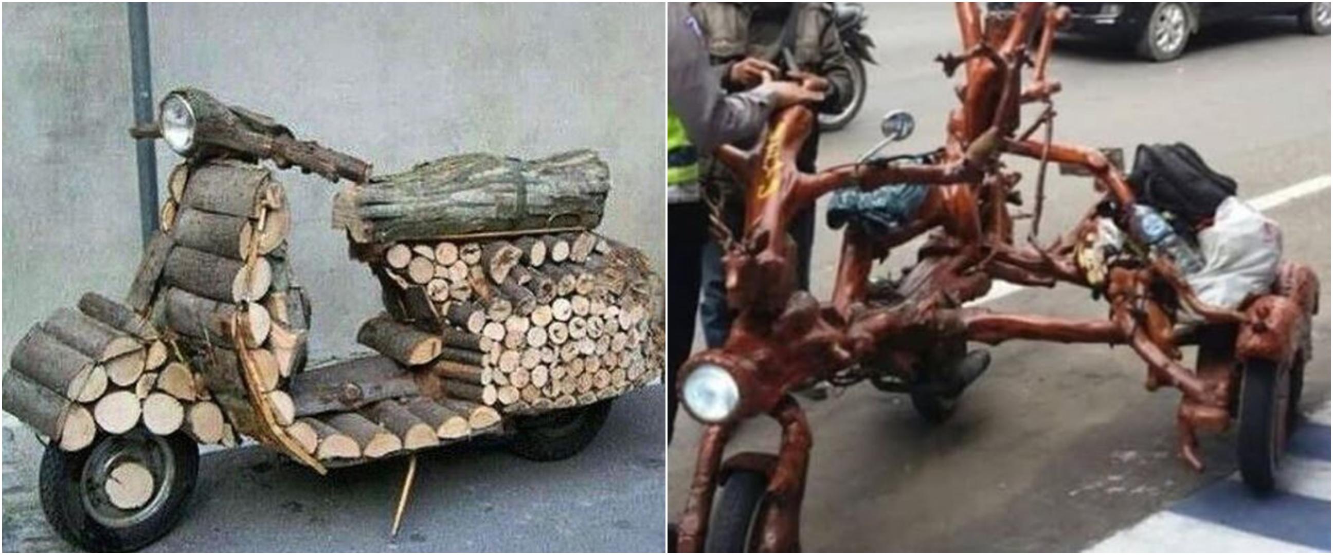 10 Modifikasi motor nyeleneh menggunakan kayu ini bikin kerutin dahi