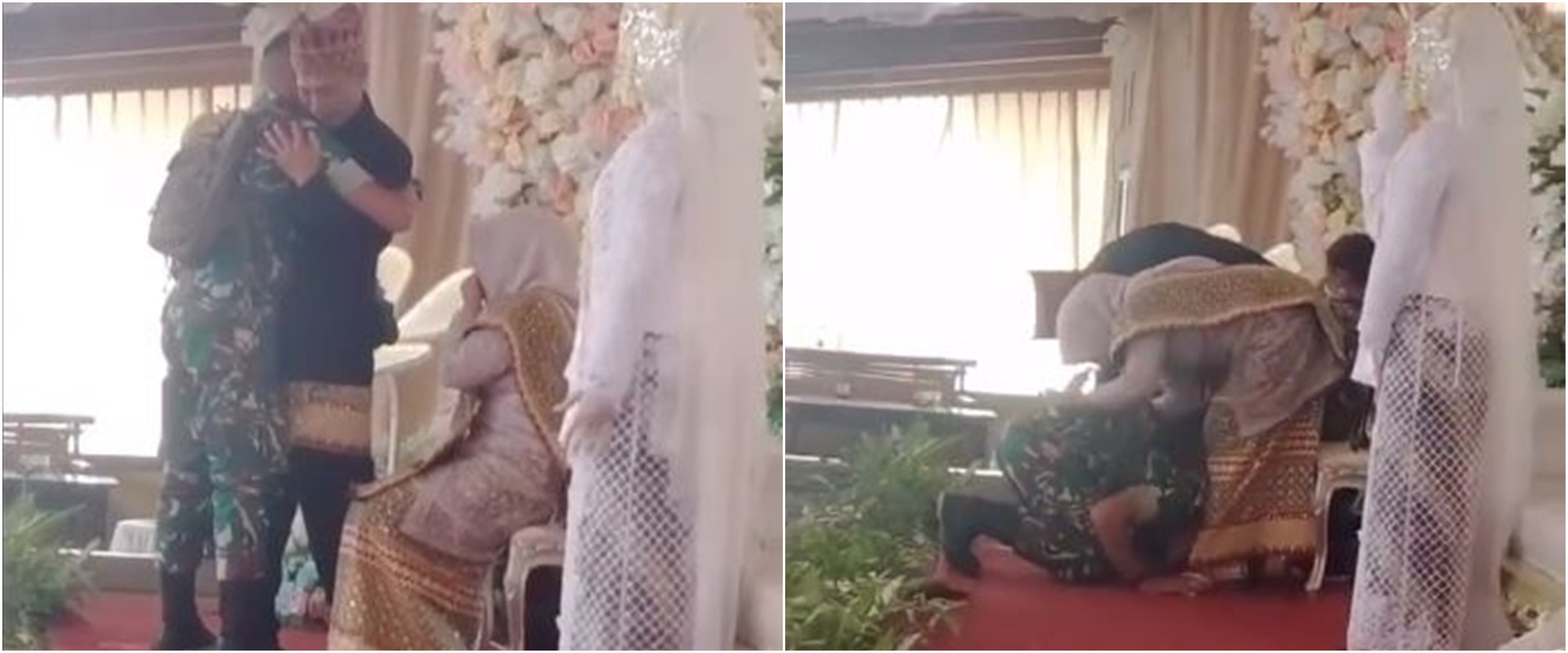 Hadiri pernikahan mantan, seorang TNI mencium kaki ibu mempelai wanita