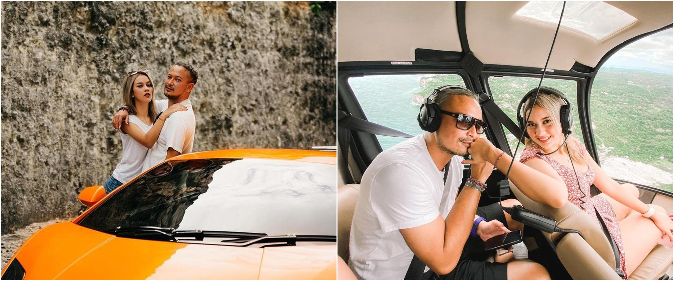 7 Momen honeymoon Banyu Biru & Anastasia Adamova, naik helikopter
