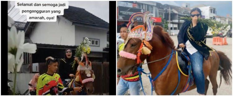 Lulus sidang skripsi, cewek ini diarak naik kuda bak putri