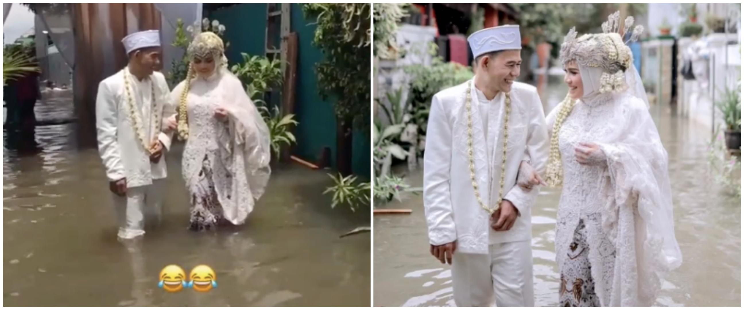 Viral kisah pasangan tetap gelar pernikahan di tengah banjir