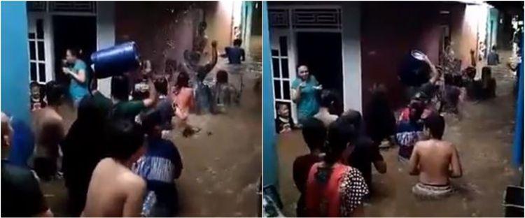 Viral warga pawai keliling kampung saat banjir, bikin tepuk jidat
