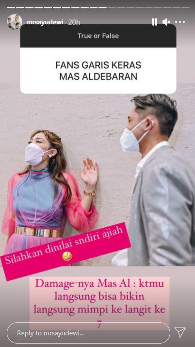 Kehaluan Ayu Dewi bucin Aldebaran © Instagram
