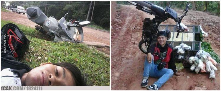 10 Pose tak biasa usai jatuh dari motor ini malah bikin cekikikan