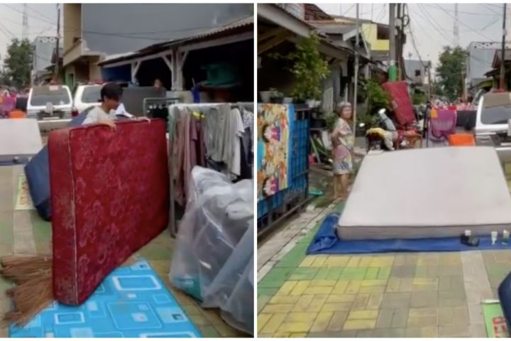 Banjir usai, jalanan kampung ini dipenuhi perabot bak pasar kaget